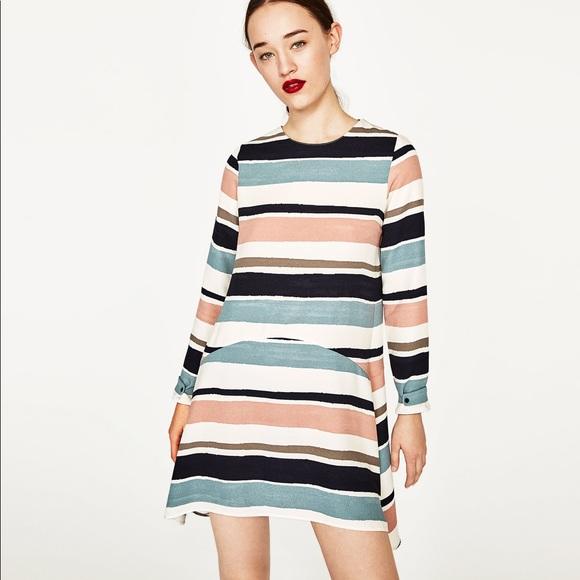 049721d5 Zara Dresses | Nwot Flowing Drop Waist Striped Flounce Dress | Poshmark